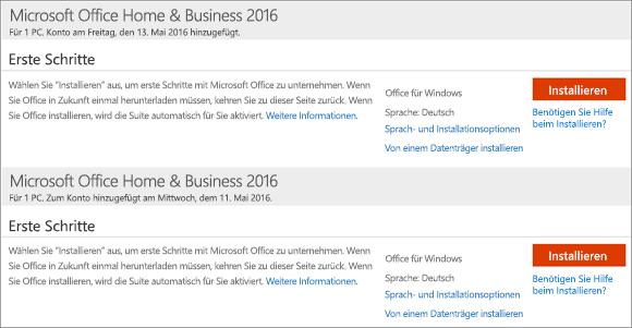 """Zeigt auf der Seite """"Mein Office-Konto"""" mehrere erworbene Versionen von Office Home and Business"""