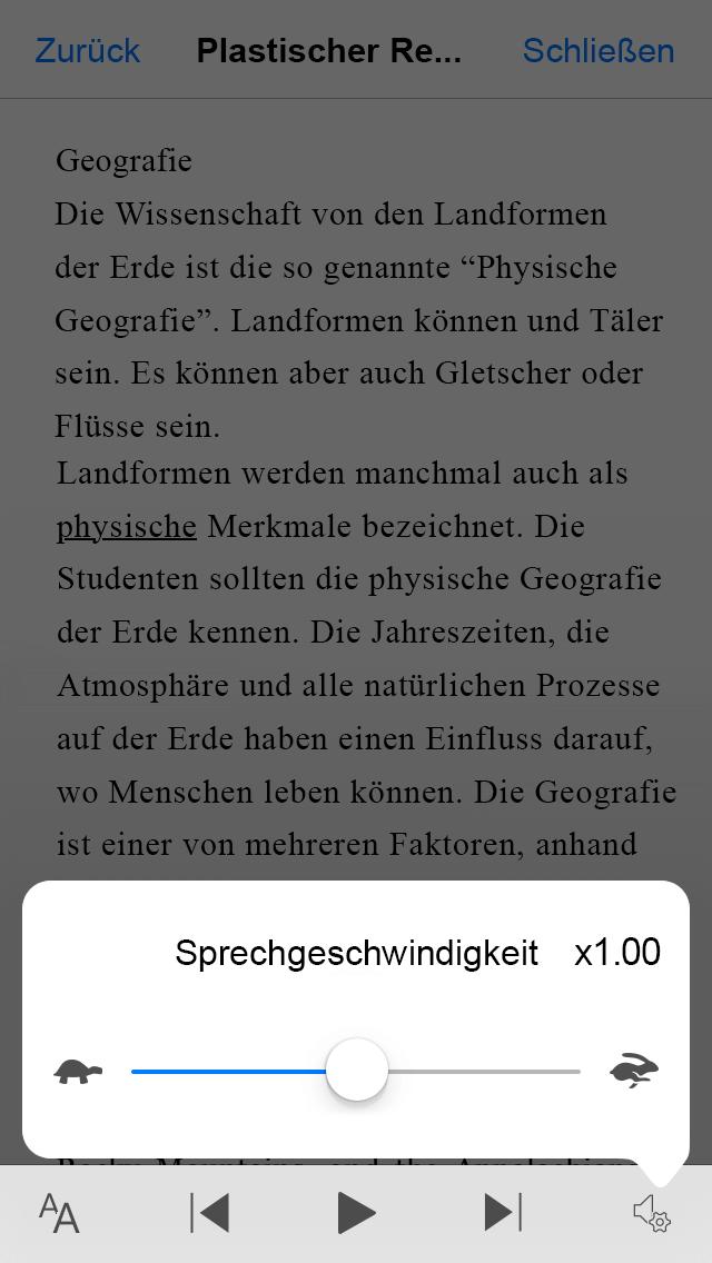 Screenshot des Schiebereglers Office Sprachgeschwindigkeit des Objektivs