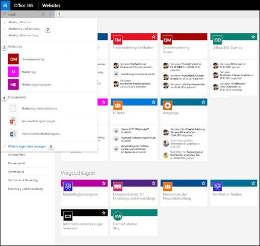 Durchsuchen von Office 365