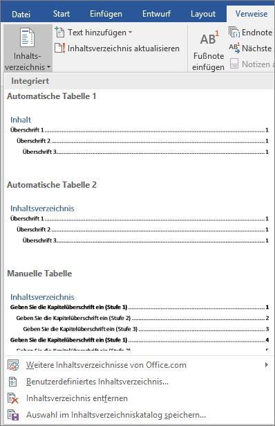 """Es werden die Inhaltsverzeichnis-Optionen auf der Registerkarte """"Verweise"""" gezeigt."""
