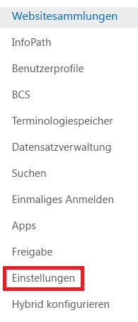 """Screenshot des Aufgabenbereichs """"Websitesammlungen"""""""