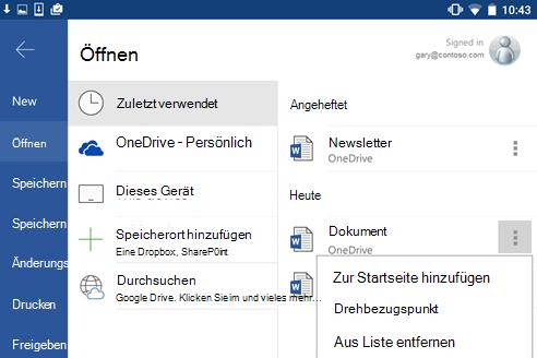 """Screenshot der Option """"An 'Zuletzt verwendet' anheften"""" in Android."""