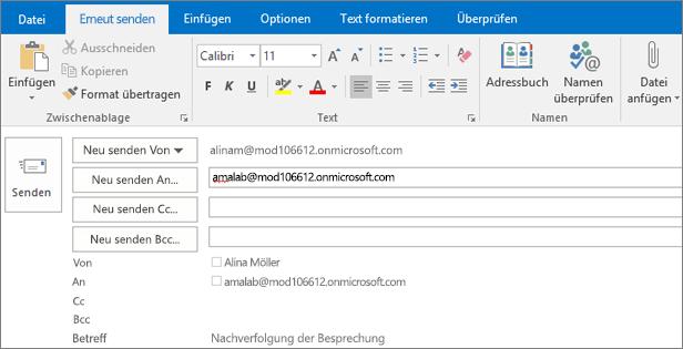 """Der Screenshot zeigt die Option """"Erneut senden"""" für eine E-Mail-Nachricht. Im Feld """"Erneut senden"""" wurde die Adresse des Empfängers von der AutoVervollständigen-Funktion bereitgestellt."""