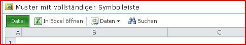 Excel Web Access-Symbolleiste mit den Schaltflächen 'Öffnen', 'Daten', 'Suchen' und 'Hilfe'