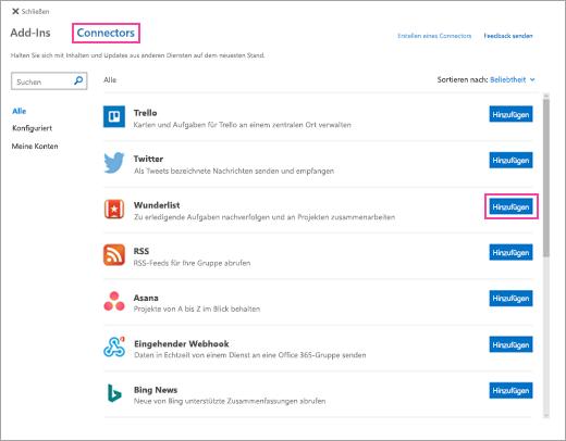 Ein Screenshot verfügbaren verbundenen Dienste in Outlook im Web