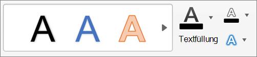 Klicken Sie auf TextFüllung, textKontur und TextEffekte.