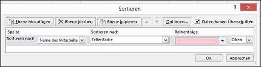Daten > Sortieren > Nach Farbe sortieren (Optionen)