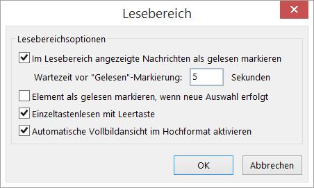 """Einstellungen im Dialogfeld """"Lesebereich"""""""