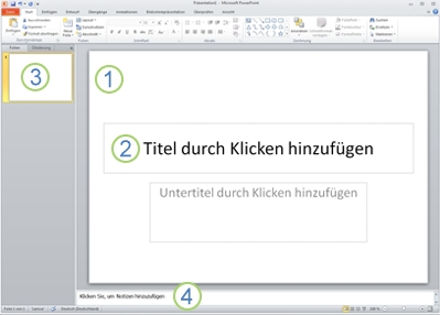 Der Arbeitsbereich oder die Normalansicht in PowerPoint2010 mit vier beschrifteten Bereichen