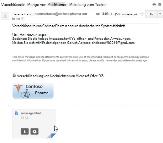 Öffnen der Anlage 'message.html'