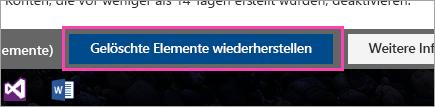 """Screenshot der Schaltfläche """"Gelöschte Elemente wiederherstellen"""""""