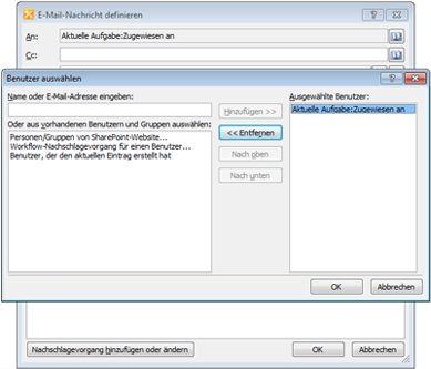 Sie können die Empfänger einer E-Mail-Aufgabenbenachrichtigung im Dialogfeld 'Benutzer auswählen' auswählen.