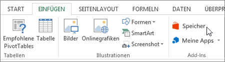 Screenshot des einen Teil der Registerkarte ' Einfügen ' auf der Excel-Multifunktionsleiste mit einem Cursor zum Store zeigen. Wählen Sie speichern im Office Store, und suchen Sie nach Excel-add-Ins.