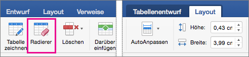 On the Layout tab, next to the Table Design tab, Erase is highlighted
