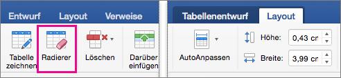 Klicken Sie auf der Registerkarte Layout neben der Registerkarte Entwurf ist löschen markiert