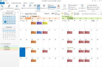Beispiel für nebeneinander angeordnete und überlagerte Kalender