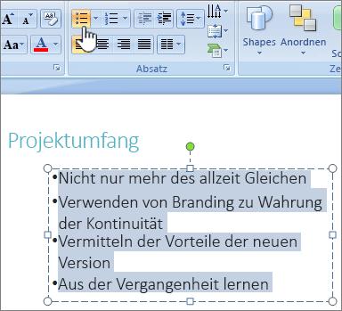 Text mit hervorgehobener Schaltfläche ' Aufzählungszeichen ' ausgewählt
