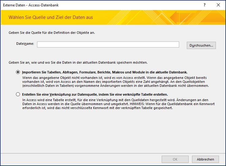 Screenshot des Import-Assistenten 'Externe Daten abrufen – Access-Datenbank'