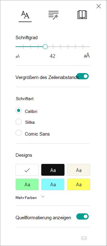 Text Optionen im immersiven Reader.