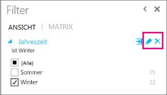 Symbole für 'Aufheben' und 'Löschen' im Power View-Filterbereich