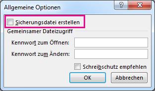 Option 'Sicherungsdatei erstellen' im Dialogfeld 'Allgemeine Optionen'