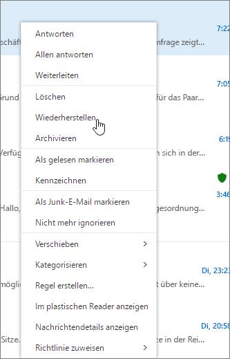 """Ein Screenshot zeigt die Option """"Wiederherstellen"""", die nach dem Auswählen einer E-Mail-Nachricht im Ordner """"Gelöschte Elemente"""" ausgewählt wurde."""