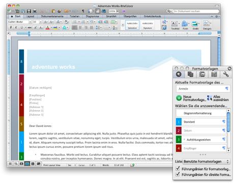 Word-Dokument und visuelle Führungslinien für Formatvorlagen