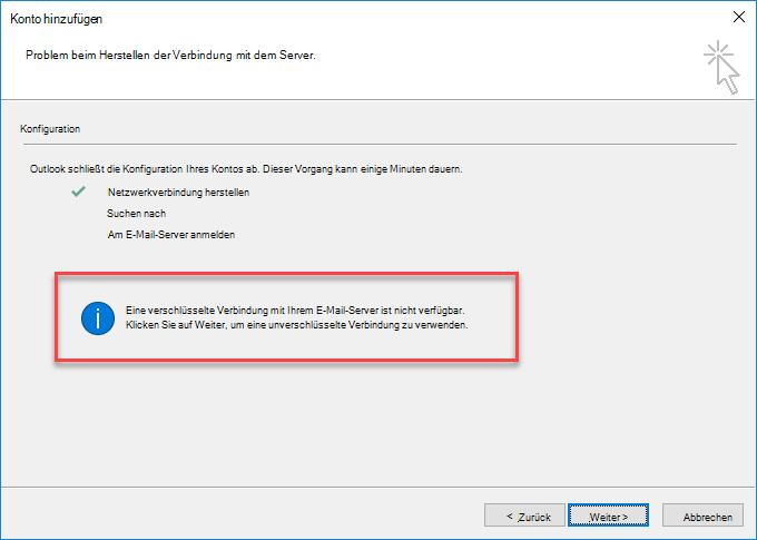 "Outlook-Fehler ""Verschlüsselte Verbindung"""