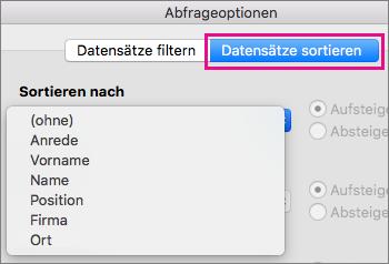 """Auf """"Datensätze sortieren"""" klicken, um Elemente im Seriendruck zu sortieren"""