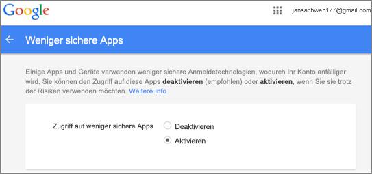 Sie müssen zu Google Gmail wechseln, um den Outlook-Zugriff zu gestatten.