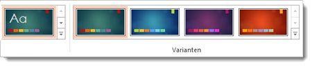 Registerkarte 'Entwurf': Designs mit Varianten