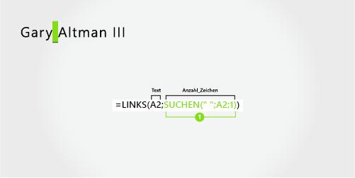 Formel zum Extrahieren eines Vor- und eines Nachnamens, gefolgt von einem Suffix