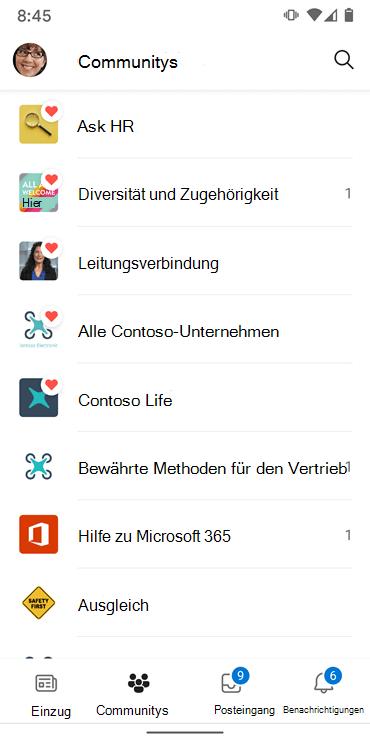 """Screenshot mit Communities in der Android-App """"jammern"""""""