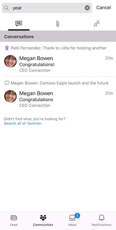 """Screenshot mit der Suche in der neuen mobilen App """"jammern"""""""