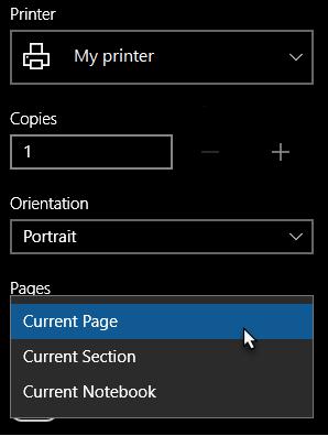 """Dialogfeld """"Drucker"""" mit einer einzelnen ausgewählten Seite"""