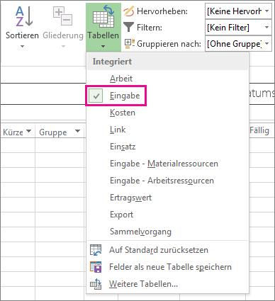 Schaltfläche 'Tabellen' auf der Registerkarte 'Ansicht'