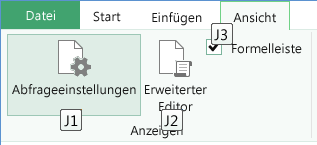 """Zugriffstasteninfos für das Menüband """"Abfrage-Editor"""""""