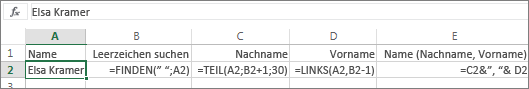"""Formeln, die einen vollständigen Namen in das Format """"Nachname, Vorname"""" konvertieren"""