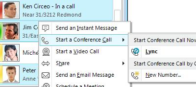 Beginnen einer Telefonkonferenz