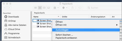 Menü mit der rechten Maustaste zum Wiederherstellen einer Datei aus dem Papierkorb auf einem Mac