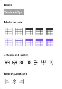 Einfügen von Tabellenoptionen