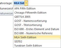 Klicken Sie in der Gruppe 'Zitate und Literaturverzeichnis' auf den Pfeil neben 'Formatvorlage'.