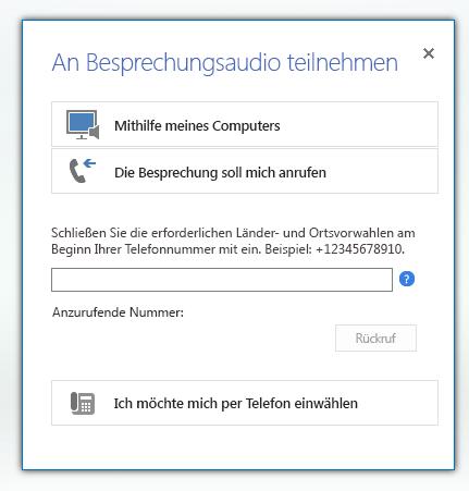 Bildschirmfoto des Dialogfelds 'An Besprechungsaudio teilnehmen' mit aktivierter Option 'Besprechung soll mich anrufen'