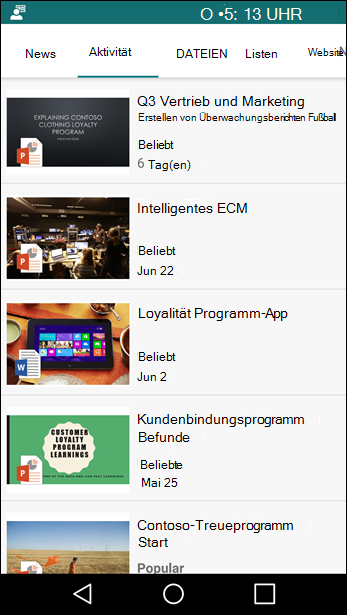 SharePoint-Teamwebsite, mobile Ansicht