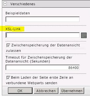 Eigenschaft 'XSL-Verknüpfung' im Menü 'Webpart'
