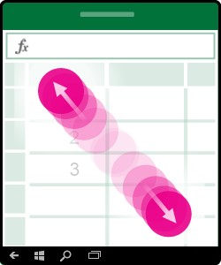 """Grafik, die die Geste """"Verkleinern"""" oder """"Trennen"""" zeigt"""