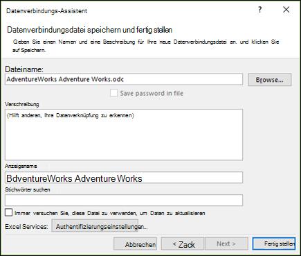 Datenverbindungs-Assistenten > Datenverbindungsdatei speichern und Fertig stellen