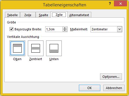 """Registerkarte """"Zelle"""" im Dialogfeld """"Tabelleneigenschaften"""""""