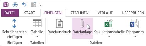 Eine Datei als Anlage in Ihre Notizen einfügen