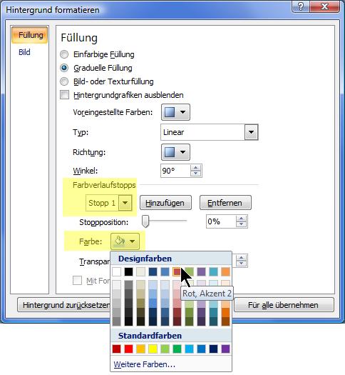 Bei einem Farbschema mit benutzerdefiniertem Farbverlauf wählen Sie einen Farbverlaufstopp und dann die gewünschte Farbe aus.